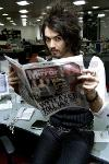 Russell Brand at the Daily Mirror's offices in Canary Wharf where the off beat comic tries his h...