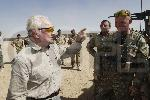 Sir David Jason met British Service man & women at Camp Bastion in Afghanistan October 2010. Sir ...